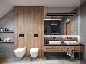 DOM JEDNORODZINNY TARNOWSKIE GÓRY 100m2 - Średnia biała czarna szara łazienka na poddaszu w domu jednorodzinnym z oknem, styl nowoczesny - zdjęcie od EDYTA SOWIŃSKA INTERIOR DESIGN