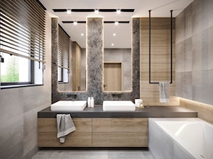 DOM JEDNORODZINNY JASTRZĘBIE ZDRÓJ 250M2 - Duża łazienka w bloku w domu jednorodzinnym z oknem, styl nowoczesny - zdjęcie od EDYTA SOWIŃSKA INTERIOR DESIGN
