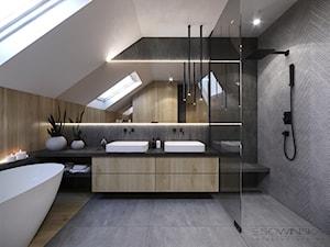 DOM JEDNORODZINNY TARNÓW 200 m2 - Średnia łazienka na poddaszu w domu jednorodzinnym z oknem, styl nowoczesny - zdjęcie od EDYTA SOWIŃSKA INTERIOR DESIGN