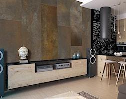 Fototapety, które odmienią każde wnętrze - Mały brązowy salon z kuchnią z jadalnią, styl industrialny - zdjęcie od Decorami