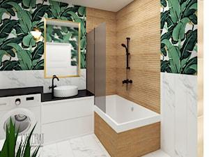 Łazienka w bananowcach - Średnia łazienka w bloku w domu jednorodzinnym bez okna, styl eklektyczny - zdjęcie od W Kwadrat