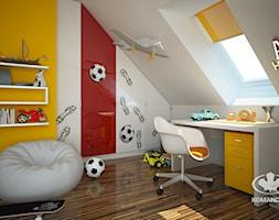 Pokój dziecięcy KOMANDOR - Mały biały żółty pokój dziecka dla chłopca dla dziewczynki dla ucznia dla malucha dla nastolatka, styl nowoczesny - zdjęcie od Komandor - Wnętrza z Charakterem