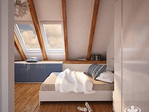 Sypialnia KOMANDOR - Średnia biała sypialnia małżeńska na poddaszu, styl skandynawski - zdjęcie od Komandor - Wnętrza z Charakterem