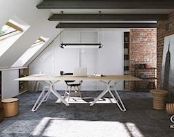 Biuro - Duże biuro pracownia na poddaszu, styl industrialny - zdjęcie od Komandor - Wnętrza z Charakterem