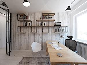 W klimacie białych cegieł - Średnie białe biuro pracownia, styl skandynawski - zdjęcie od Mirage Studio