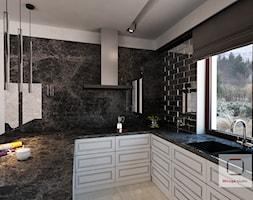 Gęsta przestrzeń luksusu - Średnia otwarta biała kuchnia w kształcie litery u z oknem, styl eklektyczny - zdjęcie od Mirage Studio