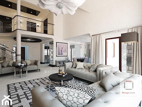 Aranżacje wnętrz - Salon: Gęsta przestrzeń luksusu - Duży biały salon z jadalnią z tarasem / balkonem z antresolą, styl nowojorski - Mirage Studio. Przeglądaj, dodawaj i zapisuj najlepsze zdjęcia, pomysły i inspiracje designerskie. W bazie mamy już prawie milion fotografii!