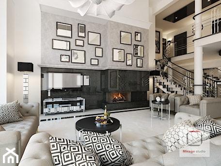 Aranżacje wnętrz - Salon: Gęsta przestrzeń luksusu - Duży szary czarny salon z antresolą, styl nowojorski - Mirage Studio. Przeglądaj, dodawaj i zapisuj najlepsze zdjęcia, pomysły i inspiracje designerskie. W bazie mamy już prawie milion fotografii!