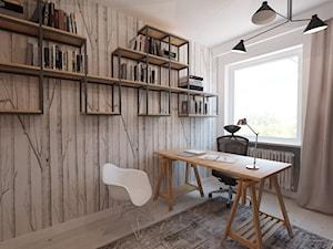 W klimacie białych cegieł - Małe białe biuro pracownia, styl skandynawski - zdjęcie od Mirage Studio