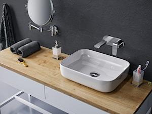 Umywalki - Mała czarna łazienka w bloku w domu jednorodzinnym bez okna, styl skandynawski - zdjęcie od EXCELLENT