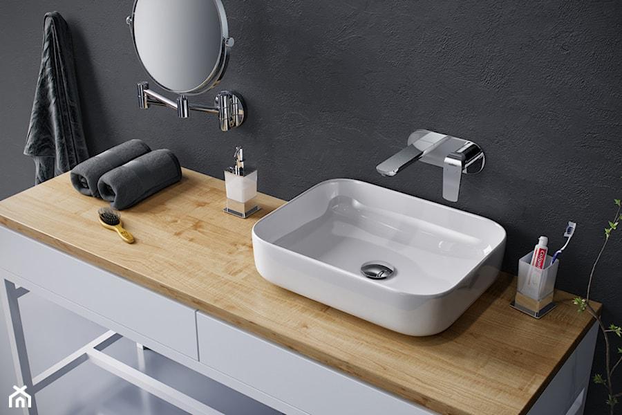 Aranżacje wnętrz - Łazienka: Umywalki - Mała czarna łazienka w bloku w domu jednorodzinnym bez okna, styl skandynawski - EXCELLENT. Przeglądaj, dodawaj i zapisuj najlepsze zdjęcia, pomysły i inspiracje designerskie. W bazie mamy już prawie milion fotografii!
