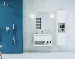 Armatura - Mała niebieska szara łazienka w bloku w domu jednorodzinnym bez okna, styl minimalistyczny - zdjęcie od EXCELLENT