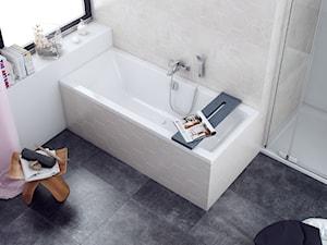 Wanny - Biała łazienka jako domowe spa z oknem, styl nowoczesny - zdjęcie od EXCELLENT