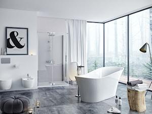 Wanny - Duża biała łazienka jako salon kąpielowy z oknem, styl skandynawski - zdjęcie od EXCELLENT