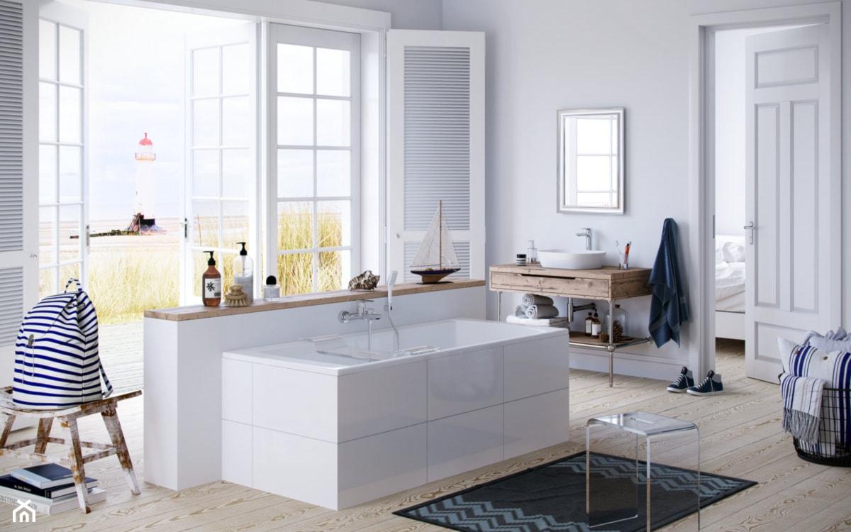 duża skandynawska łazienka z wanną prostokątną