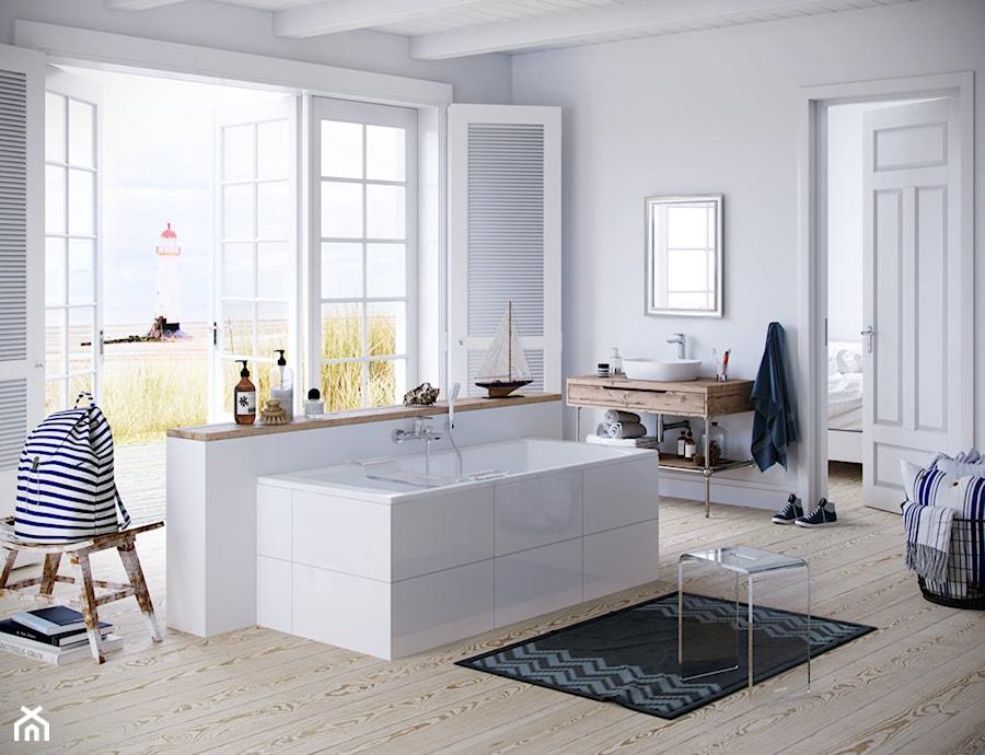 Dodatki i akcesoria łazienkowe - Duża biała łazienka w bloku w domu jednorodzinnym z oknem, styl skandynawski - zdjęcie od EXCELLENT