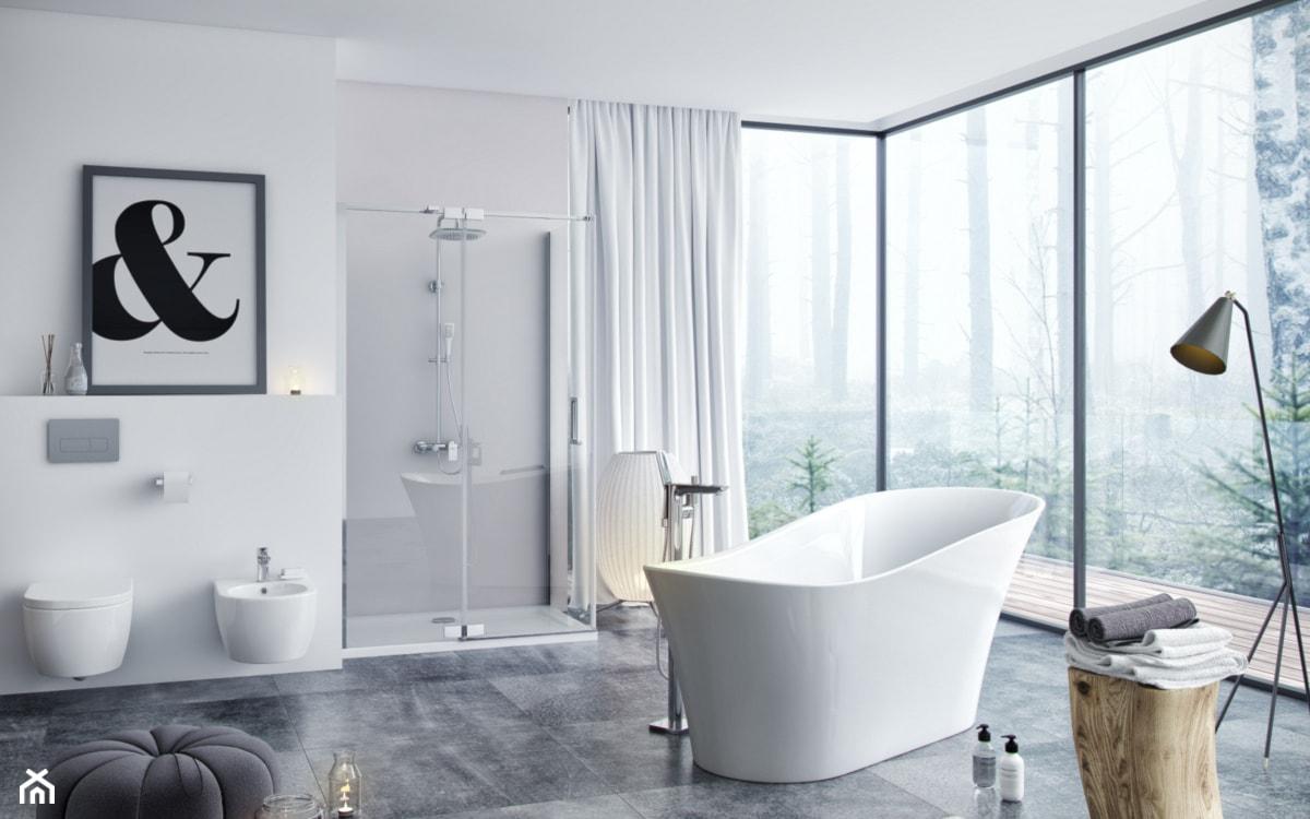 duża nowoczesna łazienka z prysznicem i wanną wolnostojącą z dużymi oknami