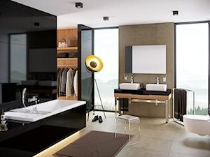 Dodatki i akcesoria łazienkowe - Duża biała łazienka jako salon kąpielowy z oknem, styl eklektyczny - zdjęcie od EXCELLENT