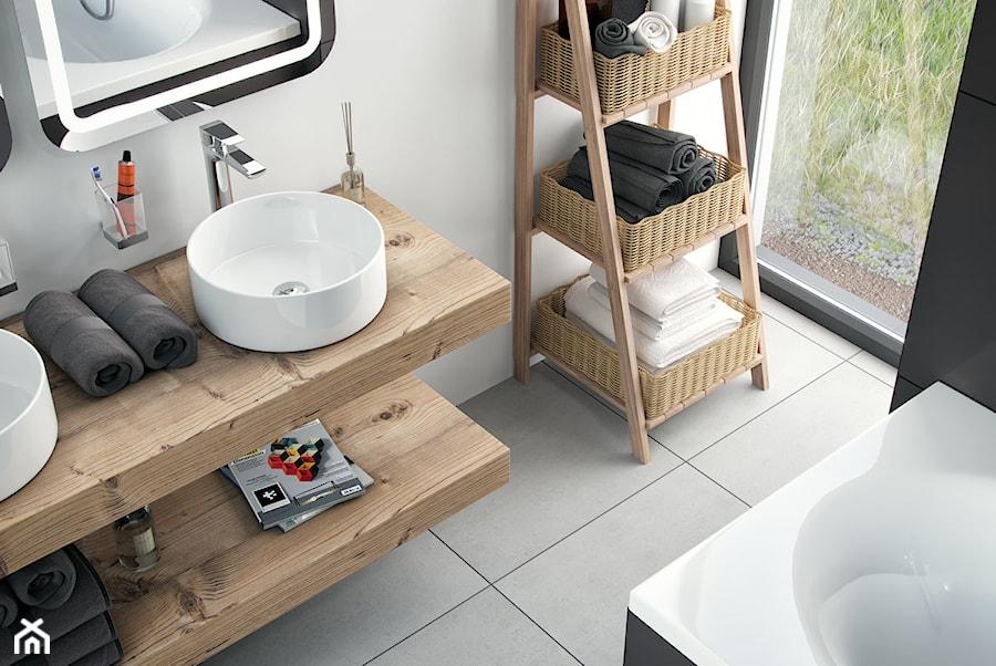 Umywalki - Mała biała łazienka na poddaszu w bloku w domu jednorodzinnym z oknem, styl skandynawski - zdjęcie od EXCELLENT