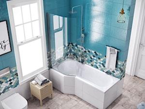 Kabiny i parawany - Średnia łazienka w bloku w domu jednorodzinnym z oknem, styl eklektyczny - zdjęcie od EXCELLENT