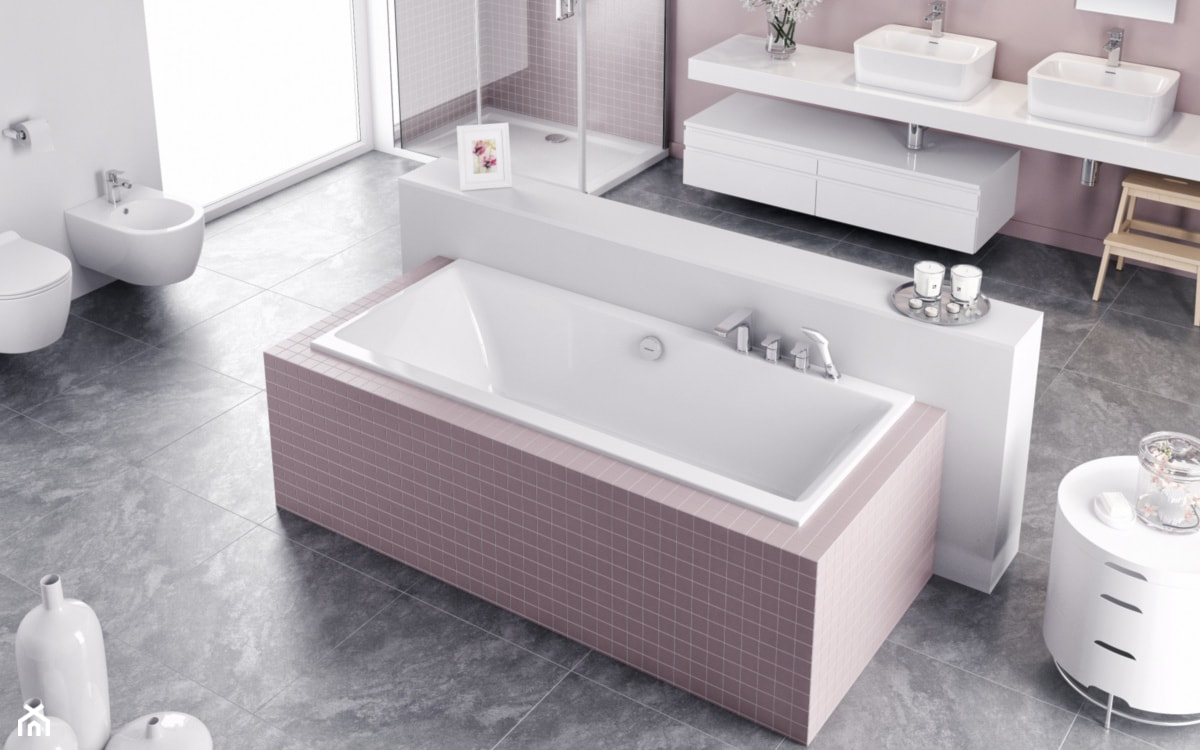 duża łazienka z prysznicem i zabudowaną wanną z różowymi akcentami