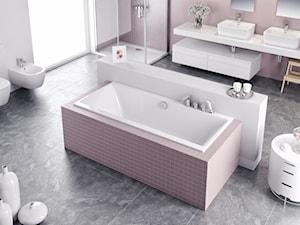 Wanny - Duża biała różowa łazienka jako salon kąpielowy dla dzieci z oknem, styl nowoczesny - zdjęcie od EXCELLENT