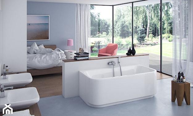 nowoczesna otwarta łazienka na sypialnię