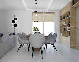 Projekt mieszkania w stylu Loftowym - Średnia otwarta biała jadalnia w salonie, styl industrialny - zdjęcie od BRight Studio