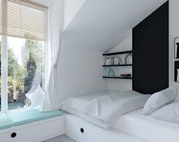 mieszkanie na poddaszu - Mały biały czarny pokój dziecka dla chłopca dla dziewczynki dla malucha dla nastolatka, styl nowoczesny - zdjęcie od BRight Studio