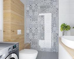 Mała łazienka - Mała biała beżowa szara łazienka w bloku bez okna, styl nowoczesny - zdjęcie od BRight Studio