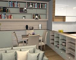 Mieszkanie w Ciechanowie - Mała otwarta biała jadalnia w kuchni w salonie, styl nowoczesny - zdjęcie od Projekt Wnętrze