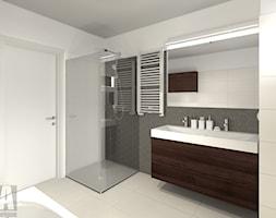 Dom w Piastowie - Średnia beżowa szara łazienka na poddaszu w bloku w domu jednorodzinnym bez okna, styl skandynawski - zdjęcie od Studio-A Anna Wielgus