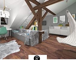 Pokój nastolatki, pokój dziewczynki, pokój na poddaszu, pokój nastolatka, pokój z belkami - zdjęcie od KATARZYNA ROŻEK R-INTERIOR DESIGN projektowanie wnętrz