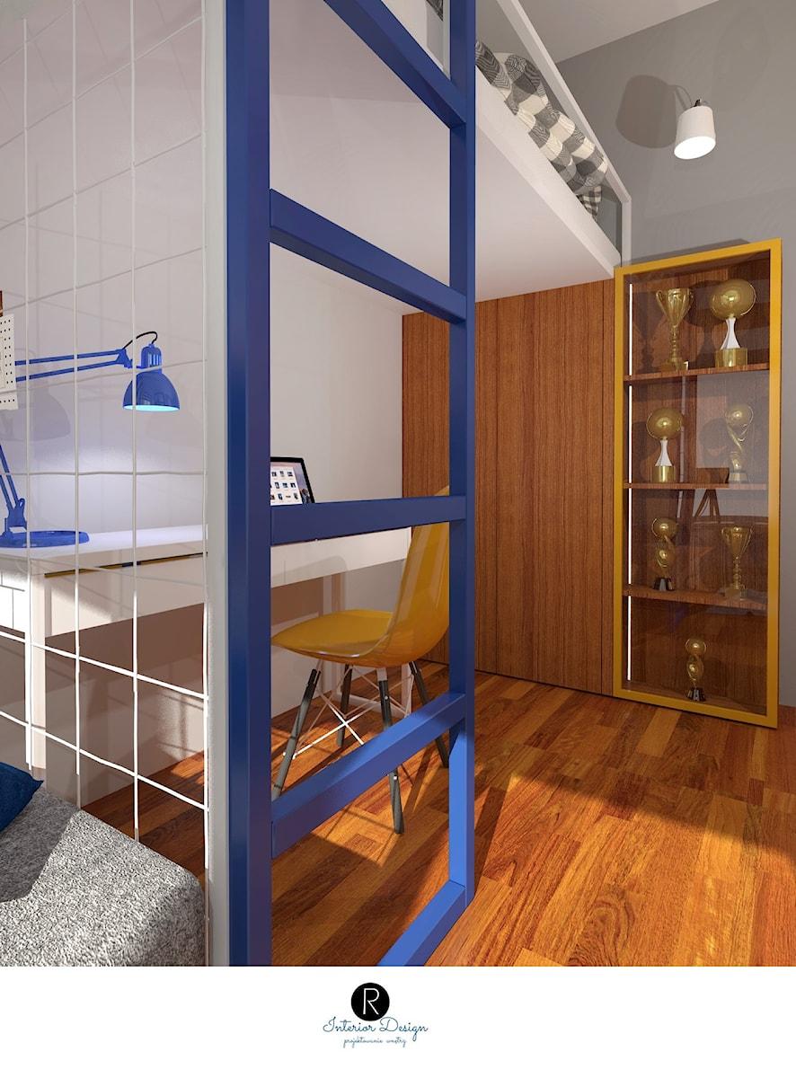 Pokój nastolatki z łóżkiem piętrowym. Łóżko piętrowe, drabinka, pokój nastolatka, pokój dziecka, pokój dziewczynki. - zdjęcie od KATARZYNA ROŻEK R-INTERIOR DESIGN projektowanie wnętrz