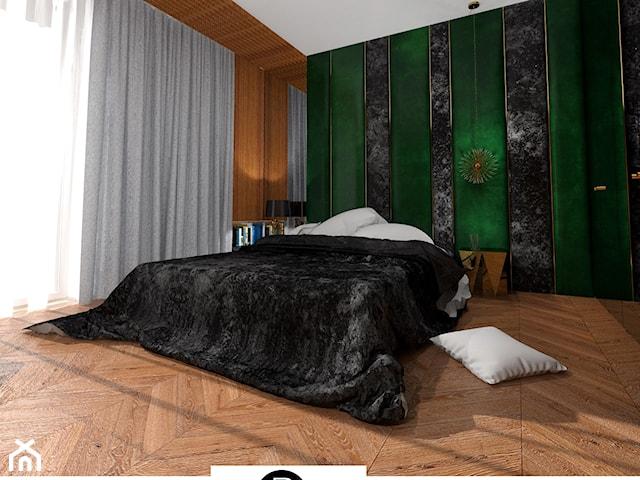 Elegancka ciemna sypialnia w hotelowym stylu