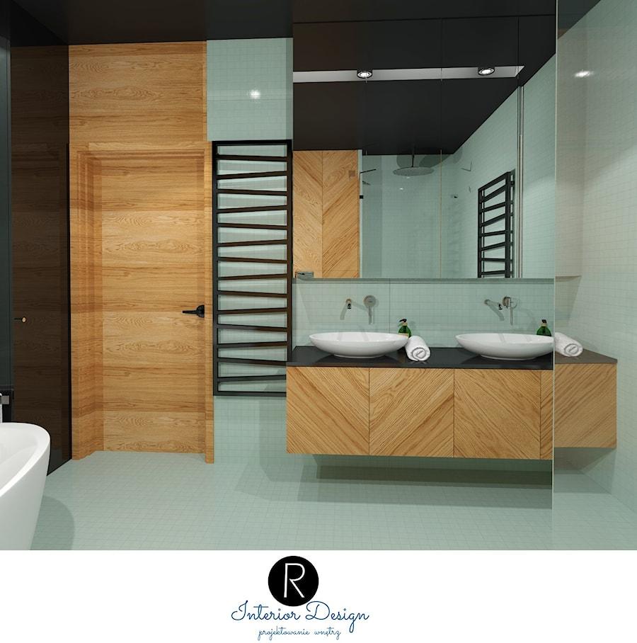 miętowa łazienka z wanna wolnostojącą turkusowa łazienka, pastelowa łązienka. Mozaika w łazience - zdjęcie od KATARZYNA ROŻEK R-INTERIOR DESIGN projektowanie wnętrz