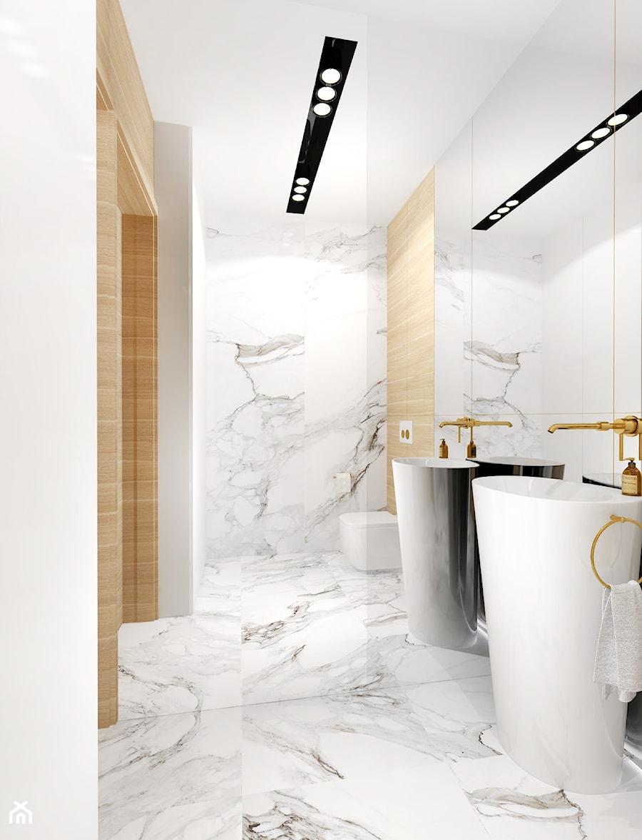łazienka Toaleta Gościnna Calacatta Carrara I Drewno