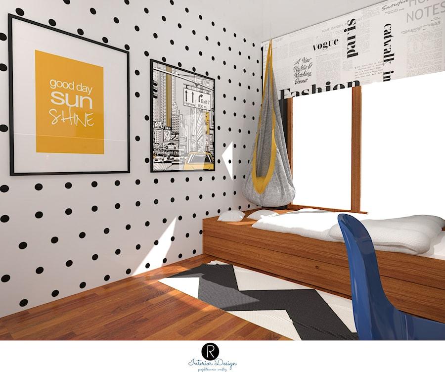Aranżacje wnętrz - Pokój dziecka: Pokój nastolatki ,, pokój nastolatka, pokój dziecka, pokój dziewczynki. Łózko domek. Drewno, biel, rolety. Podwieszany fotel. Wiszący fotel. Hamak, wiszący hamak, ściana w kropki, grafiki na ścianie - KATARZYNA ROŻEK R-INTERIOR DESIGN projektowanie wnętrz . Przeglądaj, dodawaj i zapisuj najlepsze zdjęcia, pomysły i inspiracje designerskie. W bazie mamy już prawie milion fotografii!