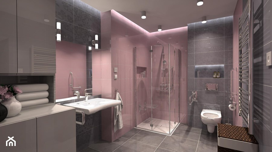 Aranżacje wnętrz - Łazienka: Łazienka bez barier dla Konrada - Duża szara różowa łazienka w domu jednorodzinnym bez okna, styl tradycyjny - ICW Studio. Przeglądaj, dodawaj i zapisuj najlepsze zdjęcia, pomysły i inspiracje designerskie. W bazie mamy już prawie milion fotografii!