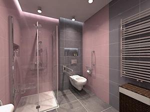 Łazienka bez barier dla Konrada - Średnia czarna różowa łazienka w bloku w domu jednorodzinnym bez okna, styl tradycyjny - zdjęcie od ICW Studio