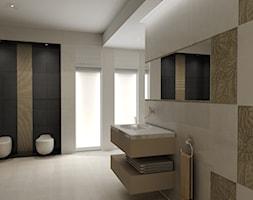 Wizualizacje dla Ceramiki Paradyż - Duża beżowa łazienka na poddaszu w bloku w domu jednorodzinnym z oknem, styl tradycyjny - zdjęcie od ICW Studio