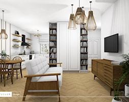 Rustykalny klimat - salon i kuchnia - Średni salon z bibiloteczką z kuchnią z jadalnią, styl rustykalny - zdjęcie od Vecler Design