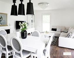 Glamour - realizacja - Średni biały salon z jadalnią, styl glamour - zdjęcie od Vecler Design