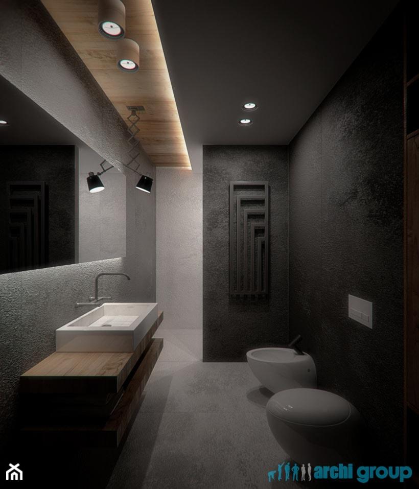 Projekt wnętrz łazienek w domu jednorodzinnym w Świętochłowicach - zdjęcie od archi group - Homebook