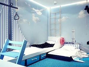 Projekt pokoju dziecięcego - Średni niebieski pokój dziecka dla chłopca dla ucznia dla malucha dla nastolatka, styl minimalistyczny - zdjęcie od archi group