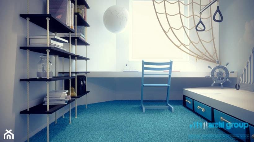 Projekt pokoju dziecięcego - Średni szary pokój dziecka dla chłopca dla ucznia dla malucha, styl minimalistyczny - zdjęcie od archi group