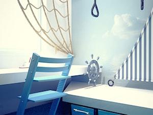 Projekt wnętrza pokoju dziecięcego - Mały biały szary pokój dziecka dla chłopca dla ucznia dla malucha, styl nowoczesny - zdjęcie od archi group