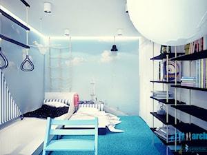 Projekt pokoju dziecięcego - Średni niebieski pokój dziecka dla chłopca dla nastolatka, styl minimalistyczny - zdjęcie od archi group