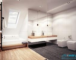 Projekt wnętrz łazienki w domu jednorodzinnym w Rudzie Śląskiej - Duża biała łazienka w domu jednorodzinnym z oknem, styl nowoczesny - zdjęcie od archi group