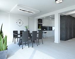 PROJEKT DOMU JEDNORODZINNEGO W SOSNOWCU - Średnia otwarta biała jadalnia jako osobne pomieszczenie, ... - zdjęcie od AFG STUDIO - Homebook